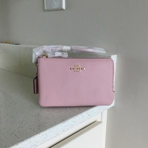 Coach pink leather wallet wristlet new